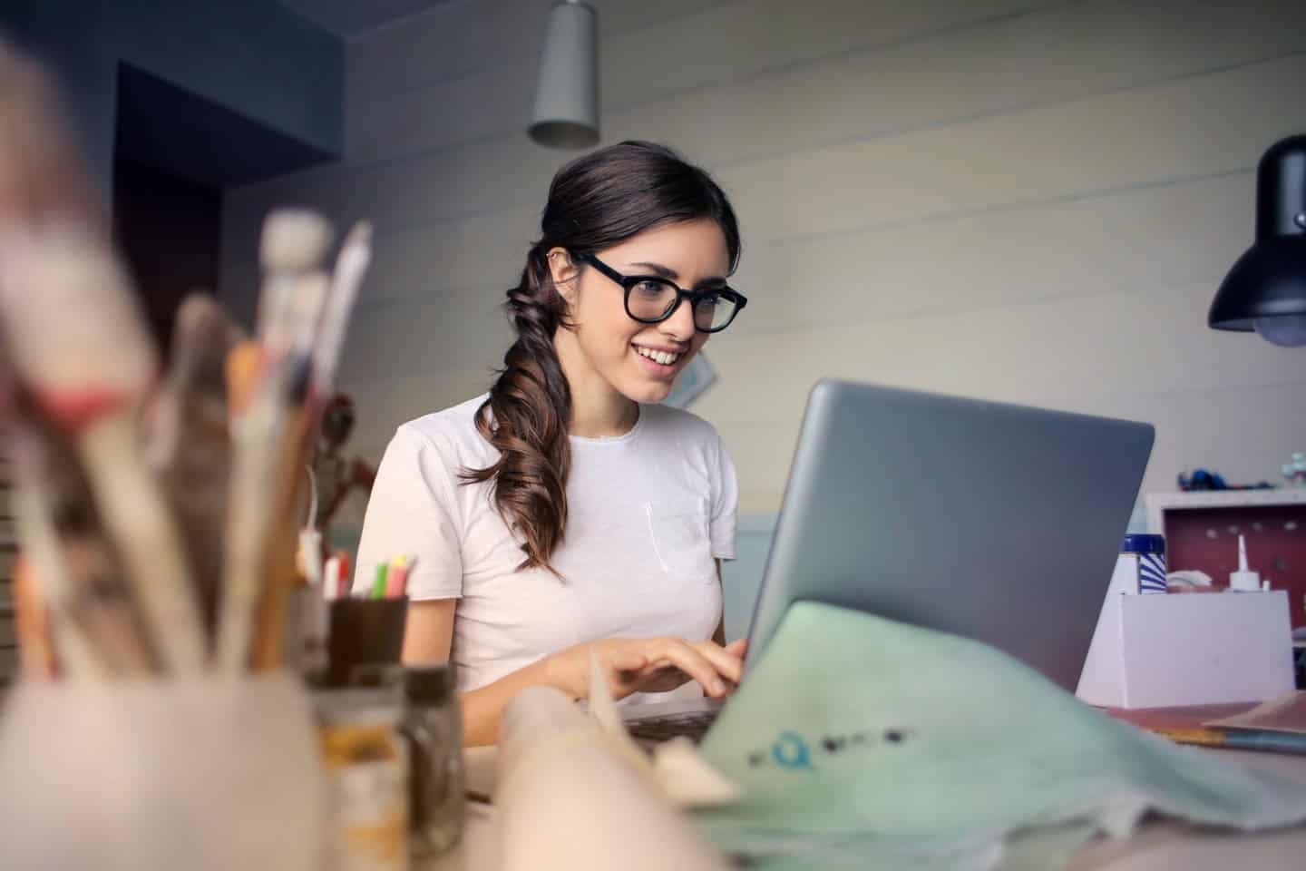 Woman on Laptop Working Freelance Jobs from Home