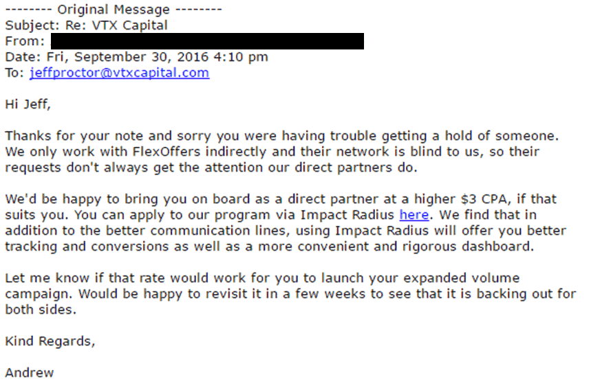 Affiliate manager email response to negotiating affiliate commission increase