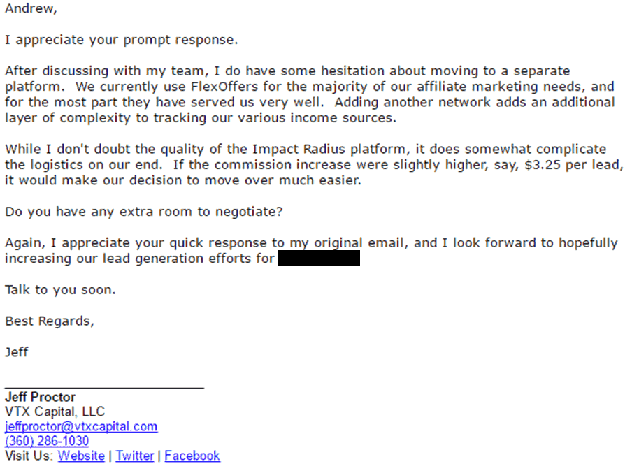Second affiliate email to affiliate manager negotiating affiliate commission increase
