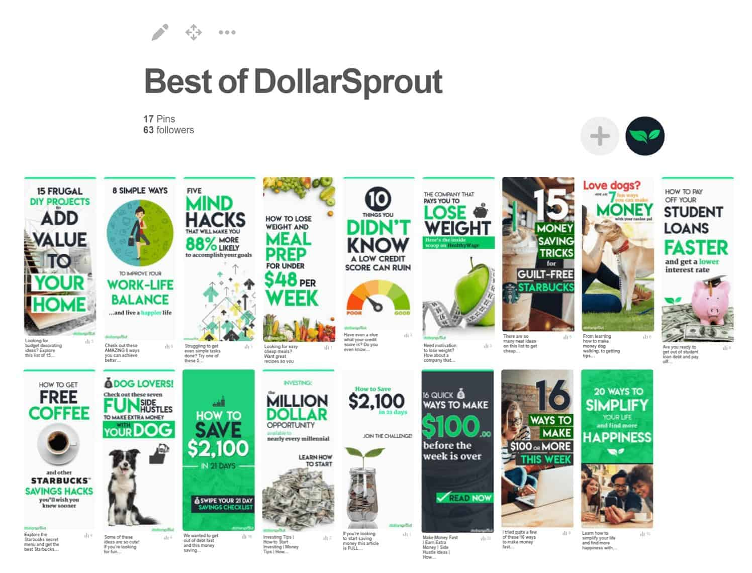Branded DollarSprout Pinterest Board