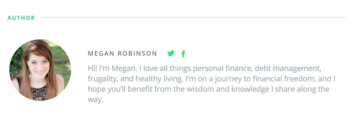 Full-Time Blogger Megan Robinson Author Bio on DollarSprout