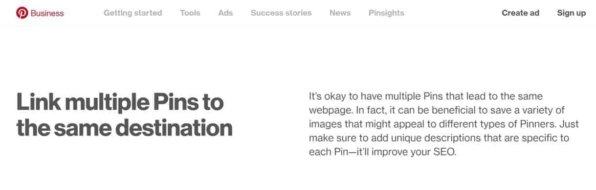 Pinterest for Business Advice: Link multiple Pins to the same destination