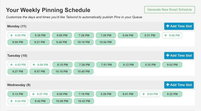 Our Tailwind Weekly pinning schedule