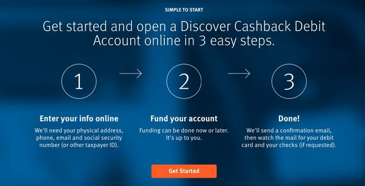 discover bank's cashback debit account signup portal