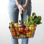 Instacart shopper holding groceries