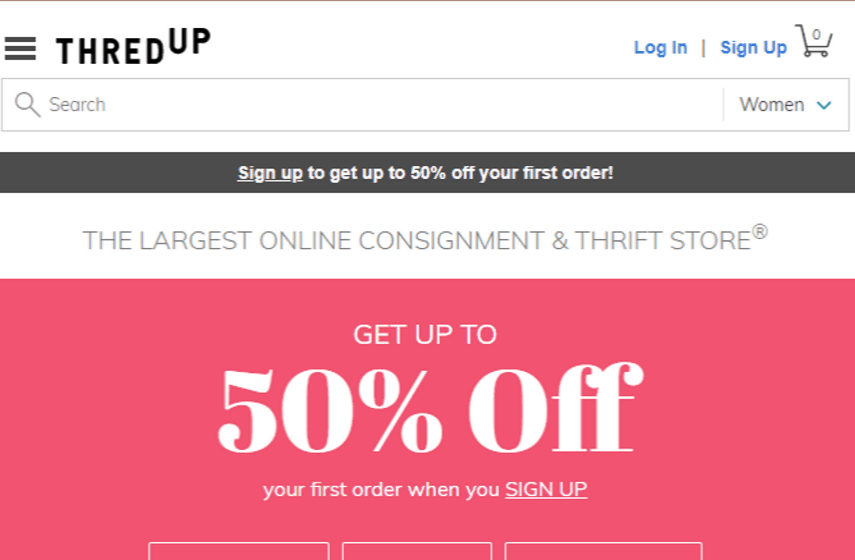 ThredUp screenshot for selling shoes online