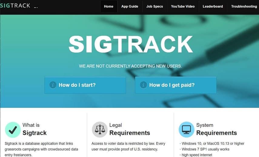 Sigtrack screenshot