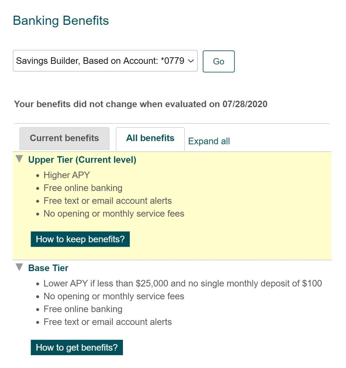 savings builder benefit tiers
