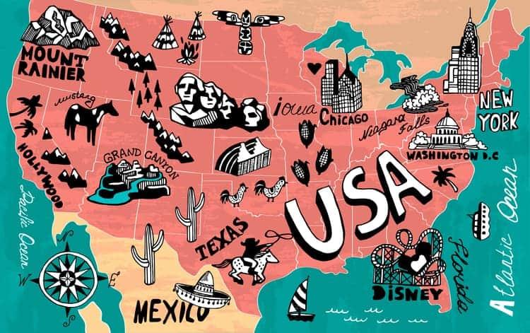 cartoon map of us travel destinations