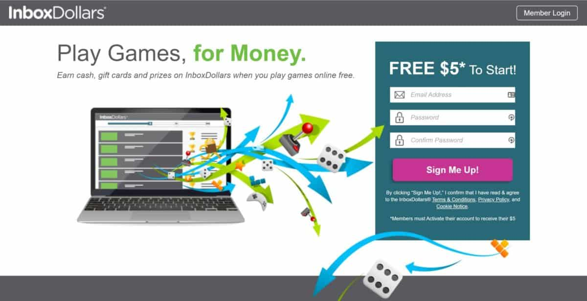 InboxDollars has dozens of free, real money earning games available on their website