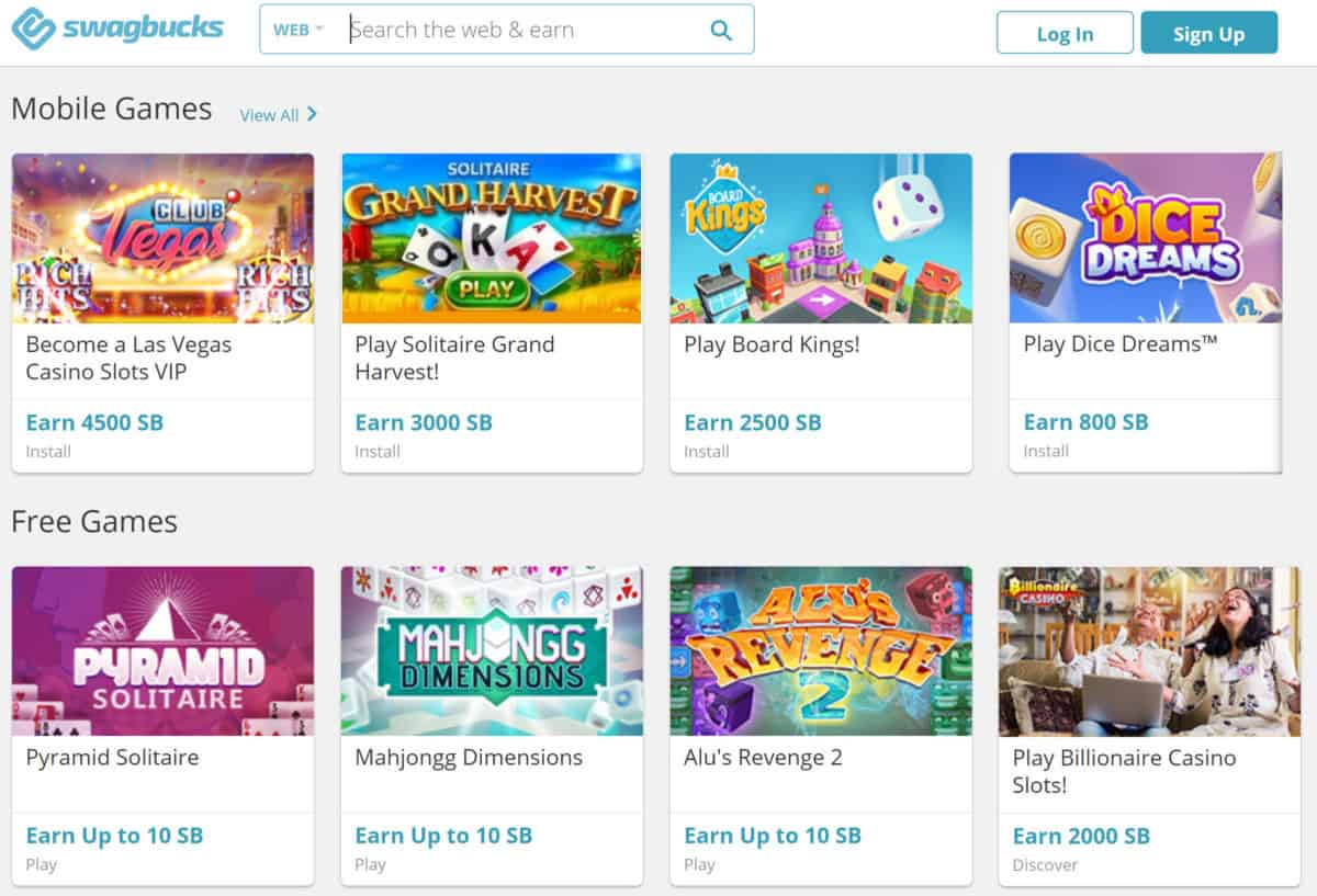 sample of real money earning games available on Swagbucks