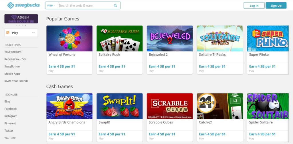 swagbucks game section