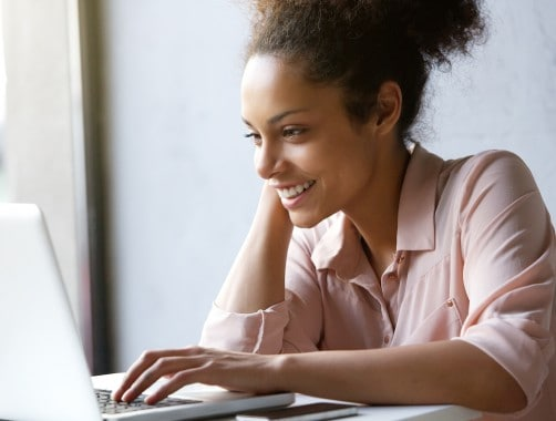 woman opening a bank account online