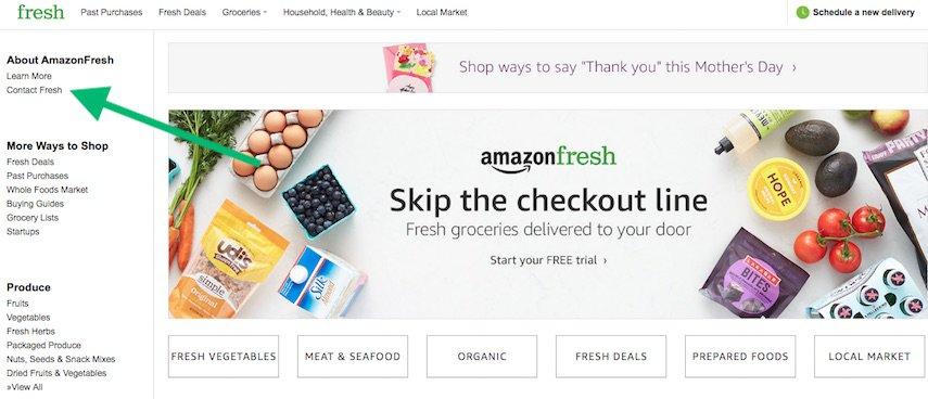 Amazon Fresh homepage