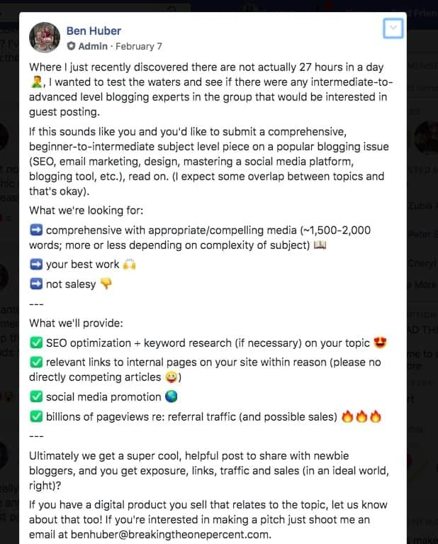 Post di Facebook di Ben