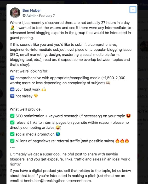 Facebook Post from Ben