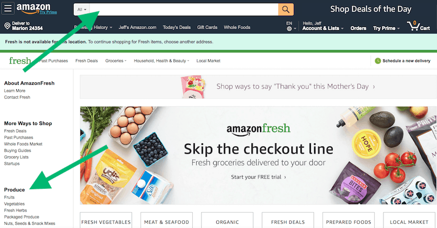 How to Search on Amazon Fresh