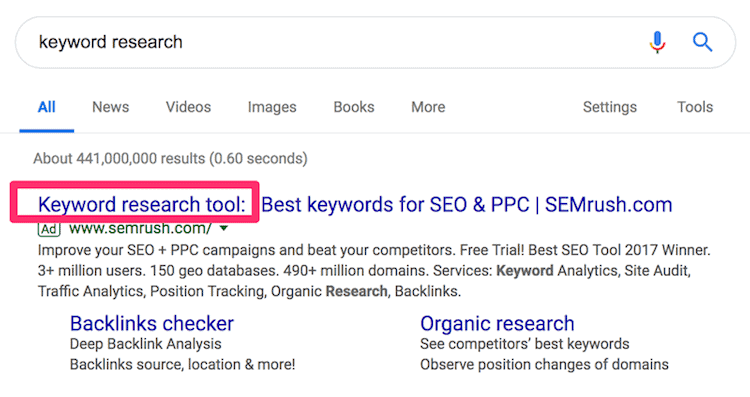how to make conclusions about keyword research by looking at paid ads on SERPs