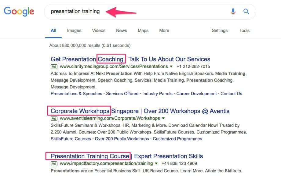 Presentation Training Search Results