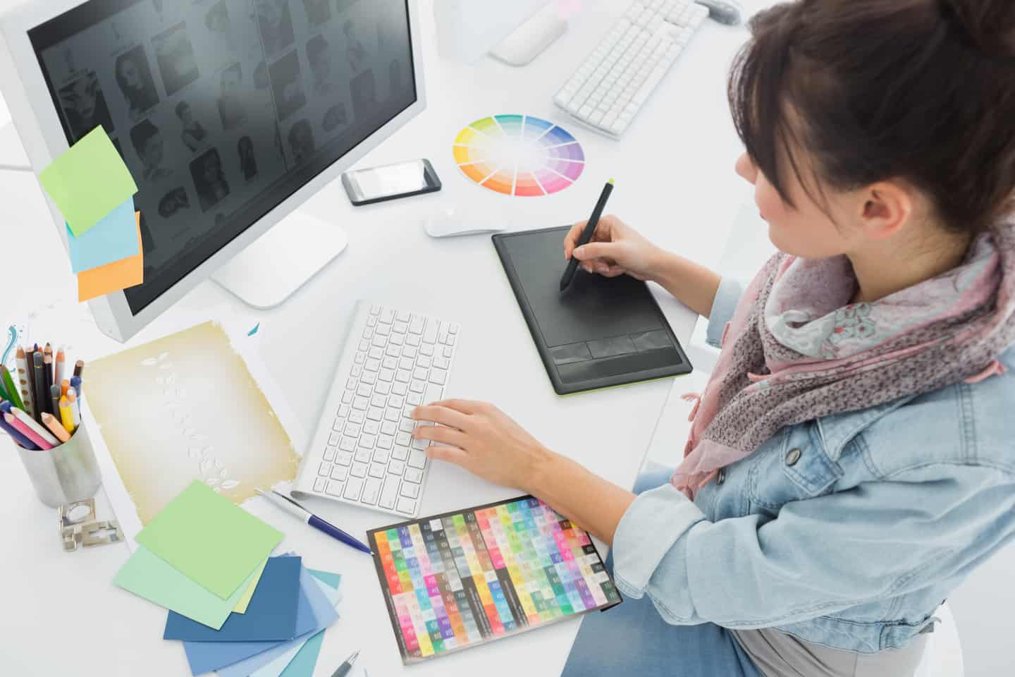 woman working on graphic designs