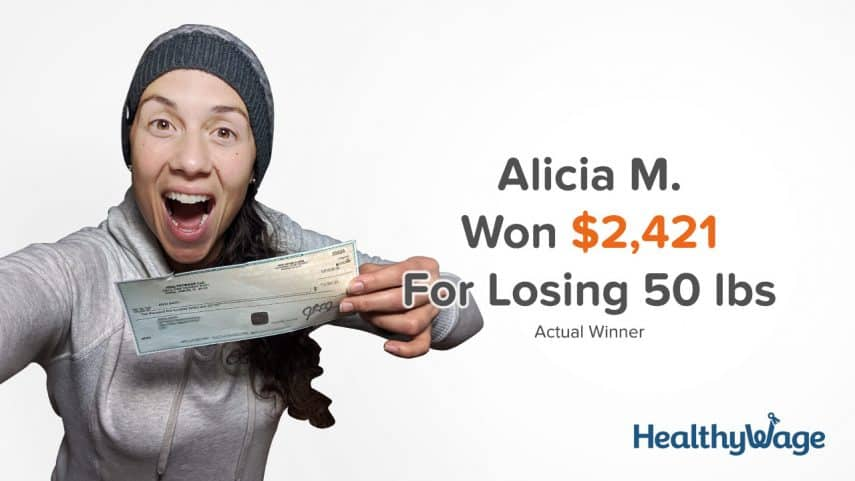 alicia m won $2,421 with her healthywage bet