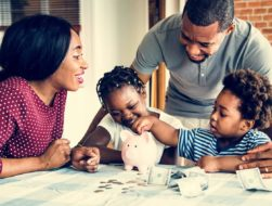 family talking about finances and frugal living