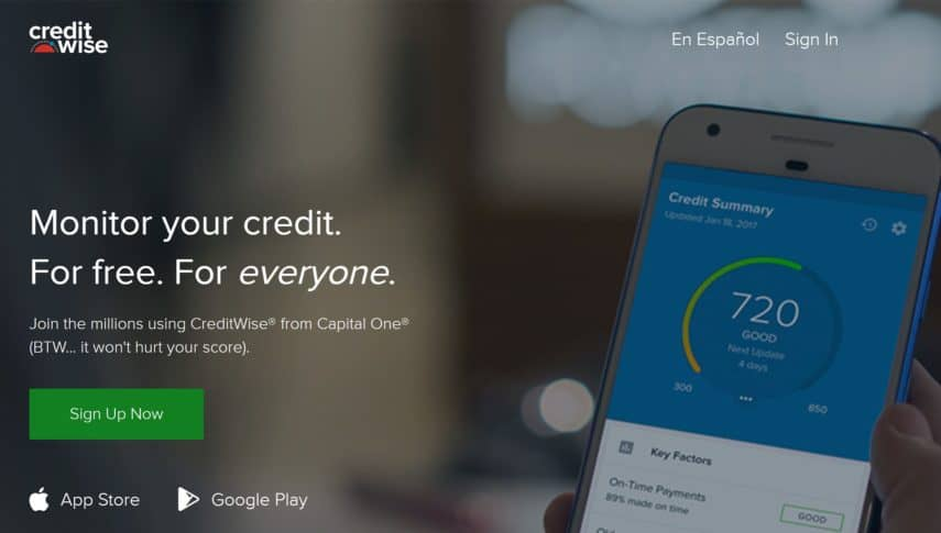 creditwise by capital one homepage