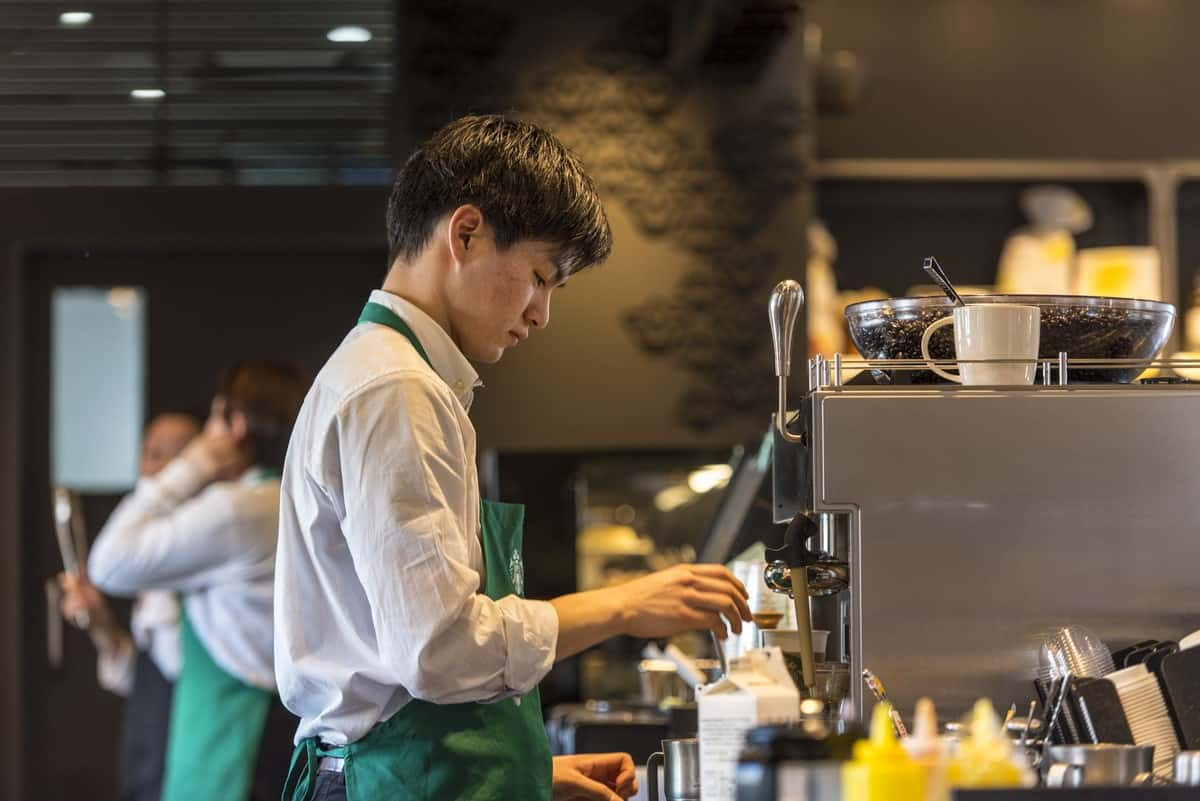 Starbucks barista at work.