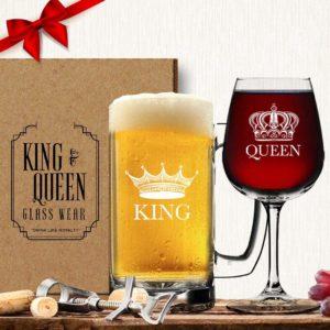 King Beer Queen Wine Glass Set