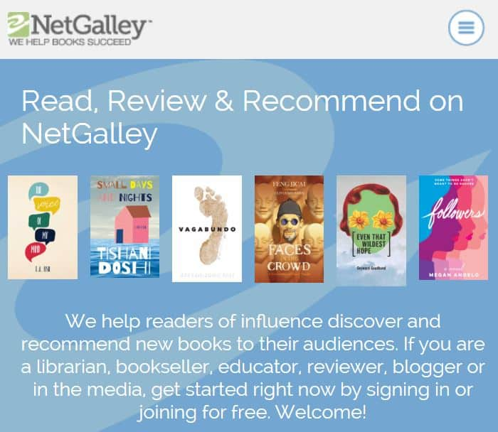 NetGalley homepage