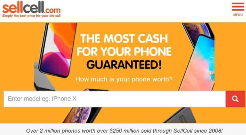 SellCell.com homepage