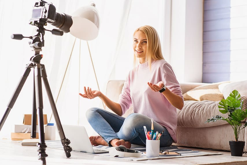 woman entrepreneur filming video