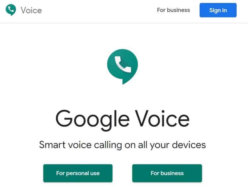 Google Voice homepage