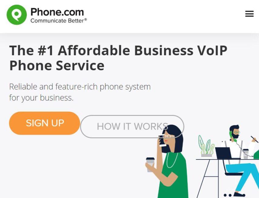Phone.com homepage