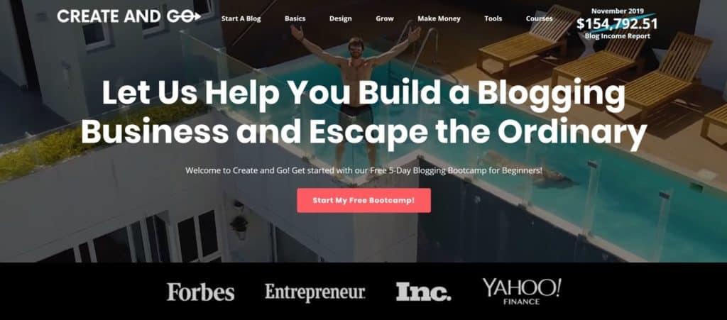 create and go blog homepage