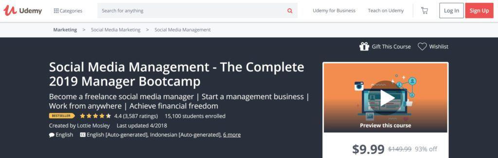 social media management bootcamp on udemy