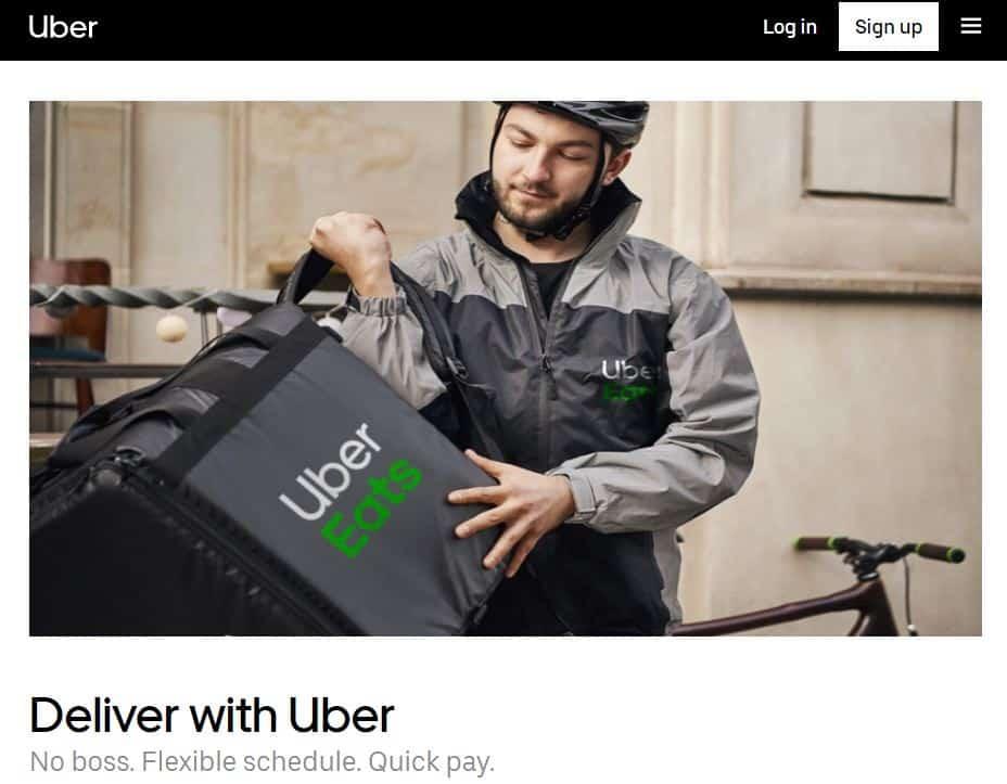 Uber Eats homepage screenshot