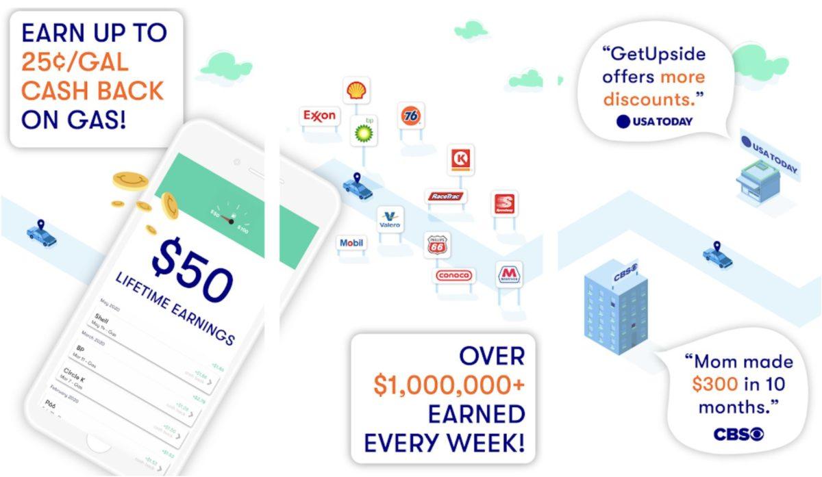 getupside cashback gas app screenshots