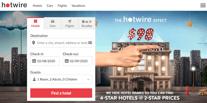 Hotwire homepage