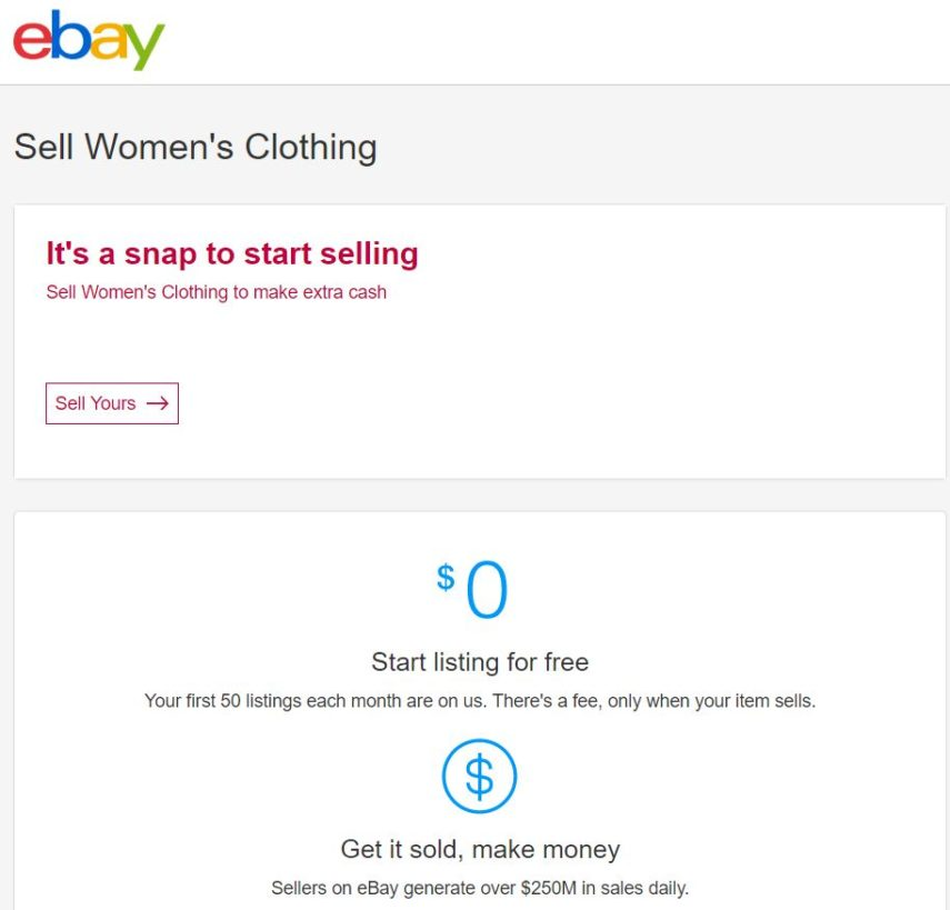 ebay sell clothes screenshot