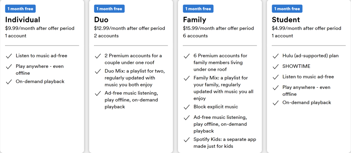 spotify discounts for individual, duo, family and student plans