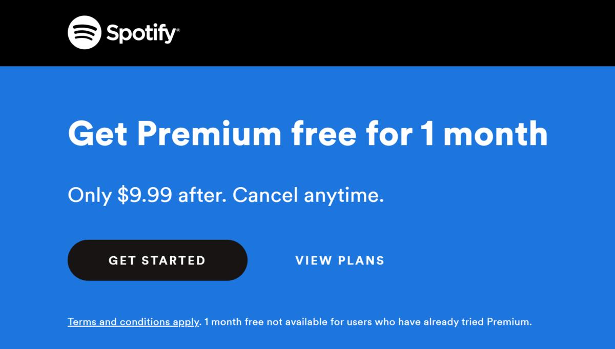 spotify premium free 1 month trial