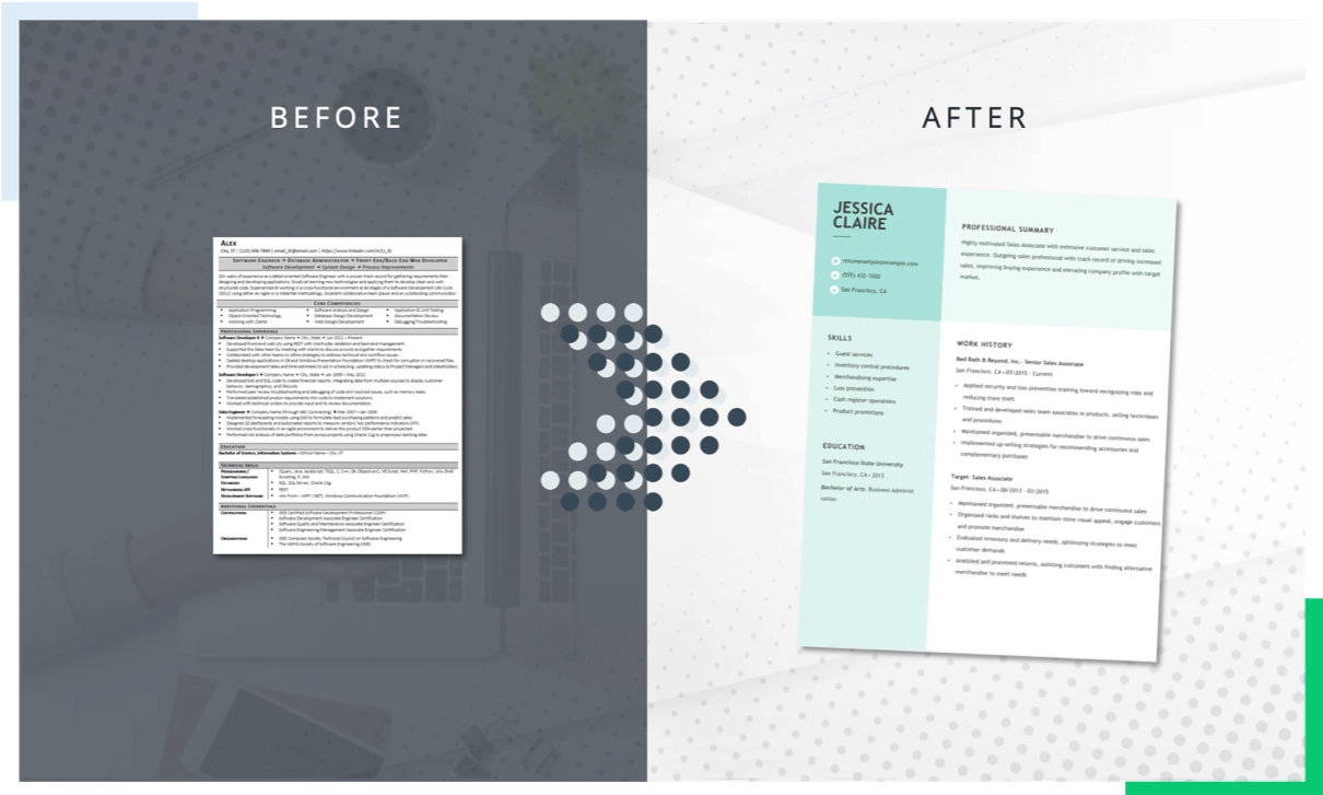 Before and after of a resume makeover