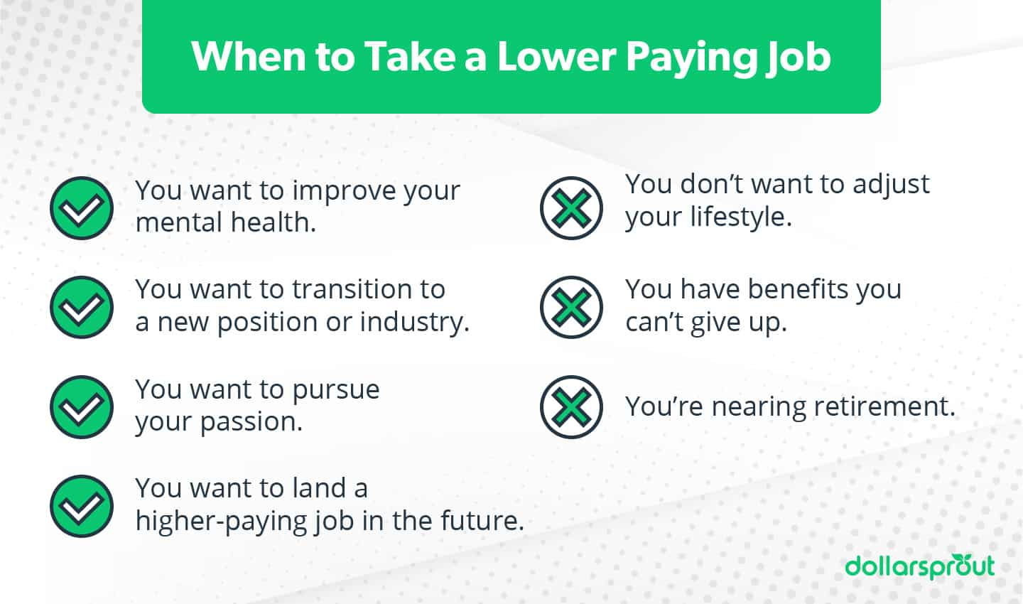 when to take a lower paying job
