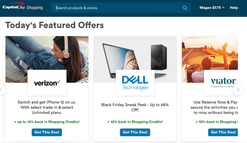 CapitalOne Shopping Featured Offers