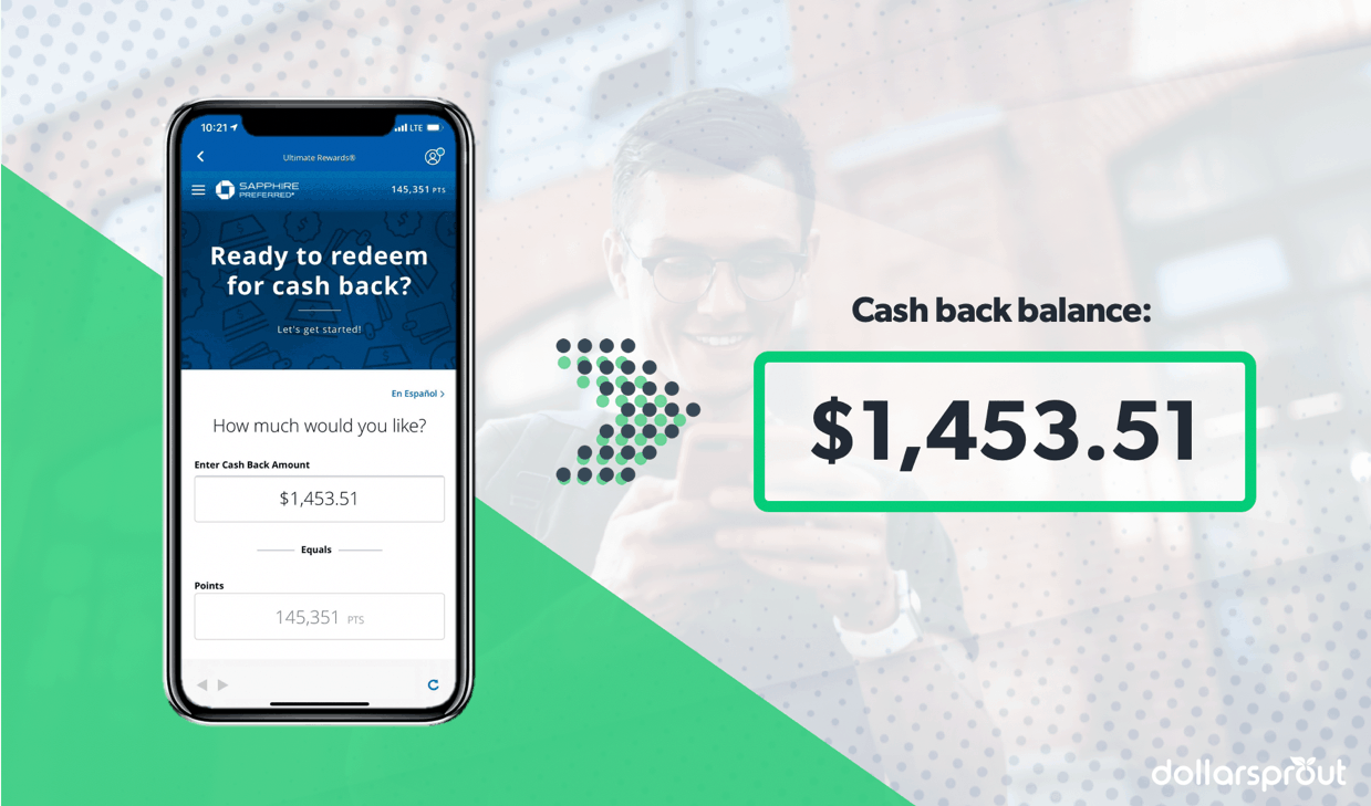 Cash back balance on a credit card