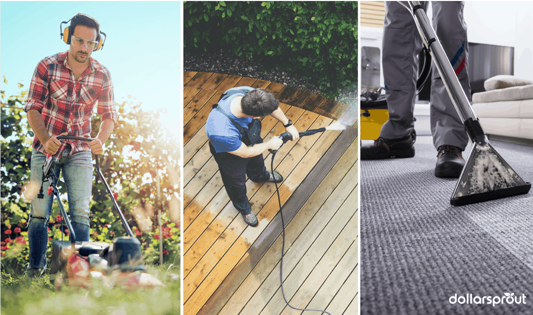 Three panels: mowing lawn, pressure washing, cleaning carpets