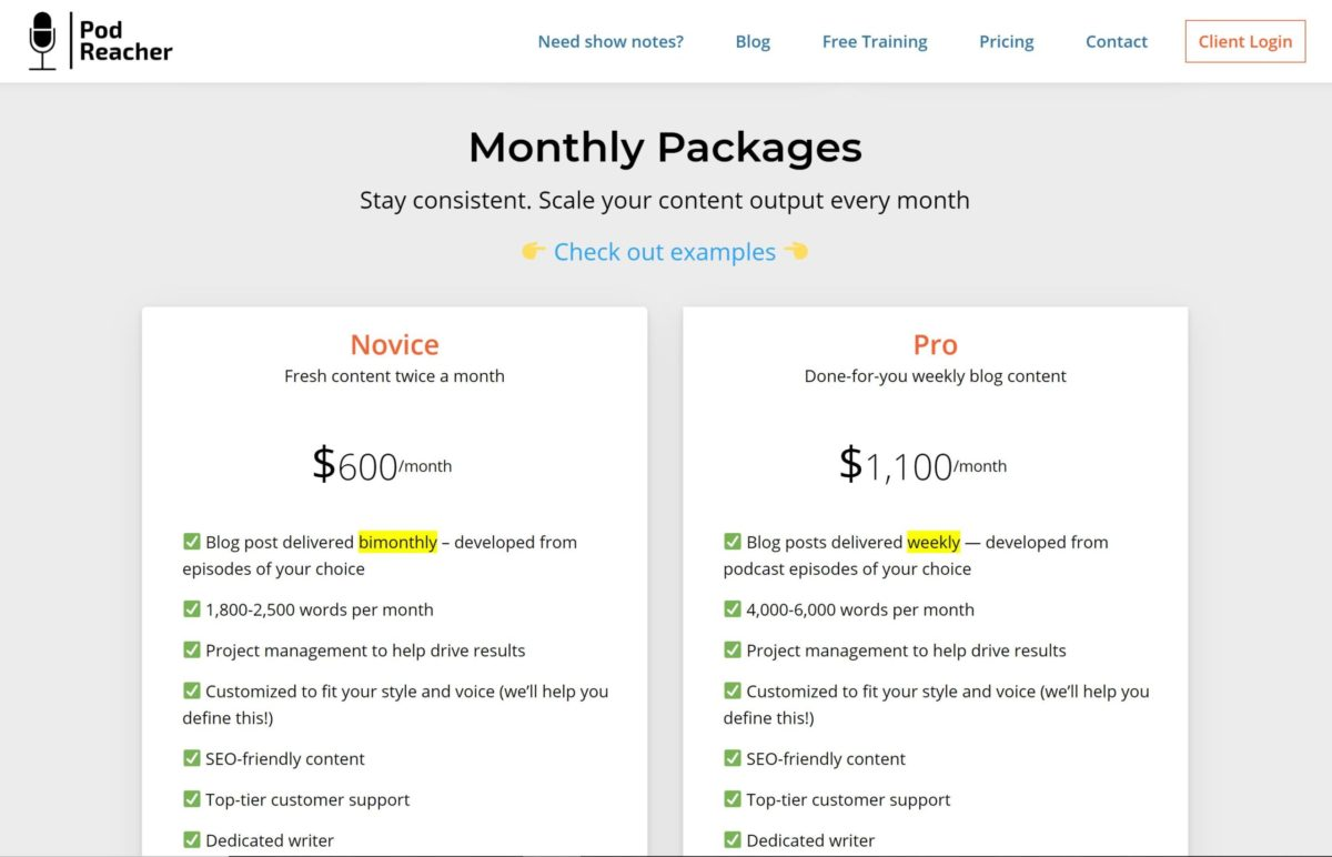 pod reacher monthly pricing
