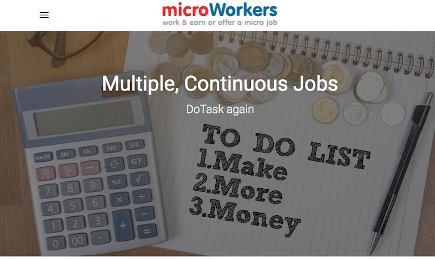Microworkers homepage