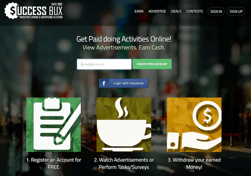 SuccessBux Homepage
